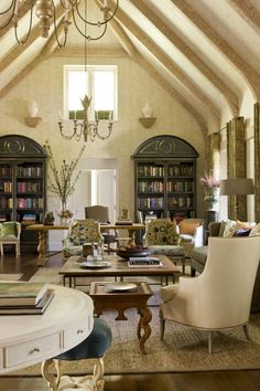 French country elegant cottage. Beautiful Living Area of a Barn Renovation.
