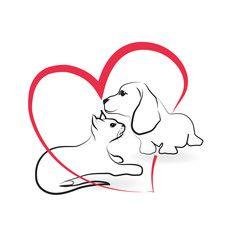 Vetor: Cat and dog logo