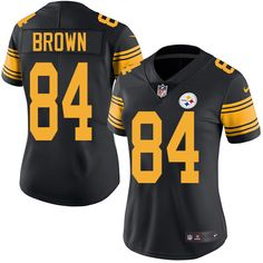 Nike Pittsburgh Steelers Women s  84 Antonio Brown Limited Black Rush NFL Jersey  Alex Smith jersey b58f59a5d