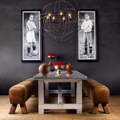 «Gather round the sleek Boston dining table with friends, and raise your game. Because your friends are your team and anythings possible with a great team… Gym Design, House Design, Interior Architecture, Interior And Exterior, Dark Walls, Beautiful Space, Beautiful Interiors, Interiores Design, Interior Design Inspiration