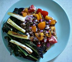 Salad Samauri Grilled Kale Salad with Spicy Lentils