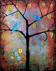Feathered Friends 8X10 Art Print by blendastudio on Etsy.  Love the contrast between the blue and yellow.