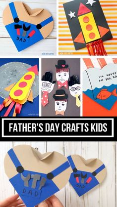 Father's Day crafts kids can make for dad and grandpa. Handy dad heart card, I love you to the moon, footprint rocket card, handprint cards, hooked on Kids Fathers Day Crafts, Easy Crafts For Kids, Fathers Day Gifts, Gifts For Dad, Fathers Day Ideas, Happy Fathers Day Cards, Simple Crafts, Summer Crafts, Creative Crafts