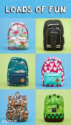Fun backpacks for back to school.  No matter what your kids are into, you'll find a fun backpack that gets them excited for school at Staples. With super-cool patterns, cute silhouettes and durable builds, these bags make a style statement all year long, from Shark Week to Fashion Week and every week in between.