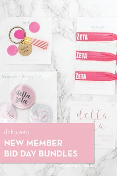 Create the perfect Bid Day gift pack for your Delta Zeta new members! Choose from three gift bag options: Newbie Love, Pref Present or Spoiled. Delta Zeta Gifts | Delta Zeta Bid Day | DZ New Member Gifts | DZ Rush Gift Bags | Delta Zeta Recruitment | Sorority Bid Day | Sorority Recruitment | Bid Day Bags | Sorority New Member Gift Ideas #BidDayGifts #SororityRecruitment