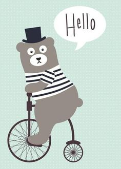 Poster Bear bike