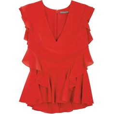 Alexander McQueen Red ruffled silk blouse (3.510 BRL) ❤ liked on Polyvore featuring tops, blouses, red peplum top, red silk blouse, frill blouse, ruffle top and frilly blouse