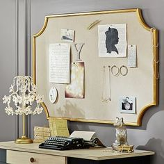 Gorgeous Emily + Meritt Scallop Statement Pinboard from Pottery Barn teen - pretty decor for a girl's bedroom