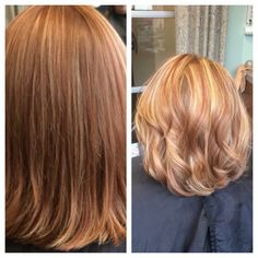 Short hair blonde and copper highlights