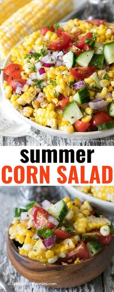 Summer Corn Salad features fresh corn on the cob, juicy garden tomatoes and crisp cucumbers in a simple dressing! This recipe is delicious and quick!