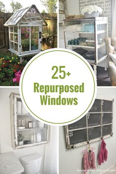 Repurposed Old Window Ideas Add some creative charm in your home with an old window! Here are some Repurposed Window Ideas that you can get inspiration from, for your o Reclaimed Windows, Wooden Windows, Old Windows, Windows And Doors, Antique Windows, Vintage Windows, Old Window Projects, Home Projects, Old Window Frames