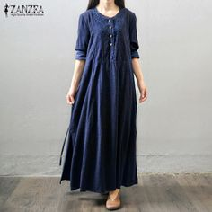 ZANZEA 2017 Women Retro Long Maxi Dress Autumn Long Sleeve Lace Embroidery Buttons Casual Loose Elegant Dress Oversized Vestidos