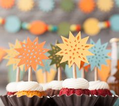 Decorate! Celebrate! Cricut cartridge. Birthday wishes cupcake star toppers. Make It Now with the Cricut Explore machine in Cricut Design Space.