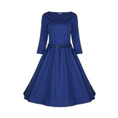 Lindy Bop Women's 'Holly' Vintage Audrey Hepburn 3/4 Sleeve Dress via Polyvore featuring dresses, vintage dresses, 3/4 length sleeve dresses, blue dress, blue vintage dress and vintage day dress