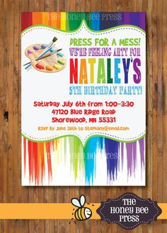 Art Party Invitation, Paint Party Invitation, Creative Birthday Party Invitation by The Honey Bee Press