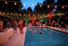 A bright pool party ... use a guide wire for the lights so the cords don't sag. Shop online at http://www.partylights.com/Strings-Bulbs