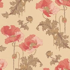 Karlslund (2934) - Boråstapeter Wallpapers - An art nouveau styled poppies design. Showing in peach on a gold/beige background. Another colour way is available. Please request a sample for true colour match. Paste-the-wall product.