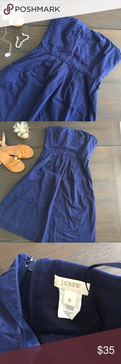 Jcrew Swiss dot dress euc This Swiss dot dress from jcrew has been worn once! Strapless with pockets. Great summer dress. Smoke free home with pets. J. Crew Dresses Strapless