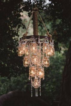 Gorgeous chandelier that would be perfect above a hot tub, or fire pit..