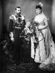 Princess Victoria Mary of Teck and the Duke of York (later George V) on their Wedding Day