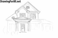 Modern house drawing architecture drawing for beginners simple architecture modern house elevation drawing Simple House Drawing, Tree House Drawing, Building Drawing, Building Sketch, Drawing For Beginners, Drawing For Kids, Dream House Sketch, Elevation Drawing, How To Build Steps
