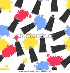 Tubes of paint. Seamless pattern. The colors blue, red, yellow. Paint spots. Art background. Vector illustration.