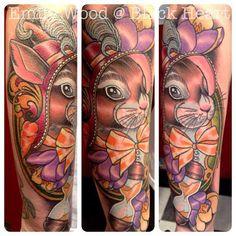 Bunny in a bonnet by Emily Wood - Black Heart Tattoo Studio, Epsom, UK Emily Wood, Black Heart Tattoos, Tattoo Studio, Bunny, Portrait, Animals, Animales, Animaux, Men Portrait