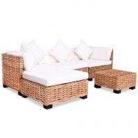 Garden Lounge Set Black Rattan Steel Frame White Cushions