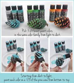 Ombré Painted Pine Cones Lifestyles, lifestyles and quality of life The interdependencies and networks produced by the internal integrity of … Pine Cone Art, Pine Cone Crafts, Pine Cones, Fall Crafts, Holiday Crafts, Painted Pinecones, Ombre Paint, Pine Cone Decorations, Branch Decor