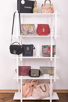 Tipps für die Aubewahrung von Taschen: Mein Taschenregal mit Modellen von Chanel, Chloé, Louis Vuitton, MCM, Gucci und Angel Jackson