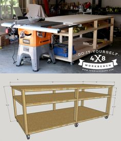 How to build a DIY workbench and table saw out-feed table. Build this for about $100! Free plans and tutorial. #diy #howto #workbench #tutorial