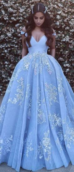 Unique lace tulle blue long prom dress. Cute blue long evening dress for teens