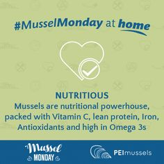 Nutritious: Mussels are nutritional powerhouse, packed with Vitamin C, lean protein, Iron, Antioxidants and high in Omega Lean Protein, Mussels, Vitamin C, A Table, Omega, Nutrition, Iron, Clams, Blue Mussel