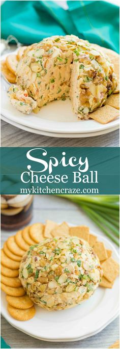 Spicy Cheese Ball – My Kitchen Craze Spicy Cheese Ball ~ Loaded with cream cheese, spices, jalapeños, shredded cheeses & fresh veggies. This is one cheese ball bundled with rich creamy goodness! Neiman Marcus Dip, Tapas, Beer Cheese, Cheese Bread, Cheese Appetizers, Appetizer Recipes, Spicy Appetizers, Dinner Recipes, Party Snacks