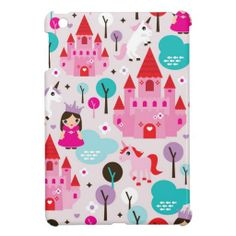 Girls princess castle and unicorn iphone case iPad mini case