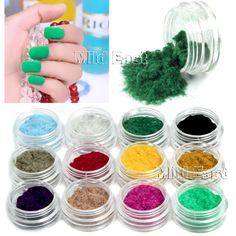Hot 12 Color Nail Art Downy Flocking Powder Velvet 3D Polish Tips Decoration B53 | eBay