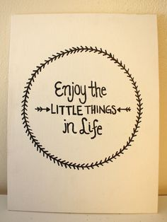 Quote Canvas Enjoy the Little things in Life by AbiMariah on Etsy