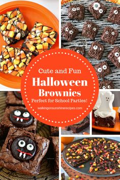 Cute Halloween Brownies that are delicious and even just a little bit scary to make for your family from Walking on Sunshine Recipes Halloween Brownies, Halloween Desserts, Halloween Treats, Fall Treats, Halloween Cookies, Cakes Plus, Chocolate Heaven, Fall Recipes, Sweets Recipes