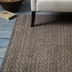 Living Area or Dining Area?   Jute Chenille Herringbone Rug, 9'x12' Ft, Natural/Slate