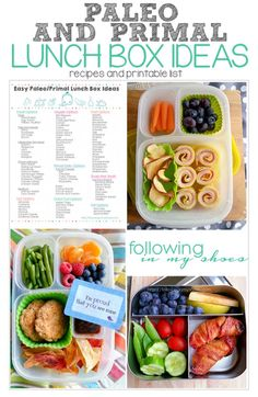 Paleo and Primal Lunch Ideas (and printable list) http://followinginmyshoes.com/bento-2/paleo-and-primal-lunch-ideas-printable-list/