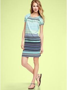 i love these stripes. wonder if this dress style would work on my figure. would probably need a belt.