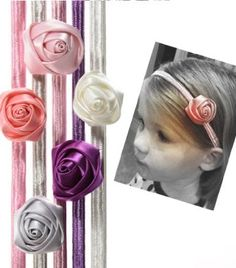 5 pack skinny rose flower headbands for girls, babies, toddler & child in purple, light pink, pink, silver, cream
