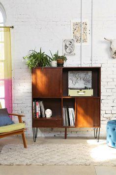 Modern Industrial living / MidCentury Teak cabinet / 50ies Wool & Teak armchair / Moroccan Rug