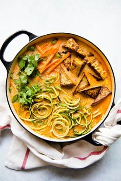 Zucchini Noodles with Tomato & Coconut Broth - easy vegan meal ready in under 45 minutes! #vegan