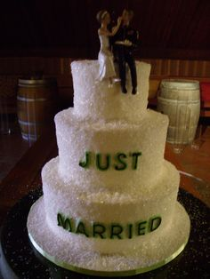 "White & Green ""Just Married"" Wedding Cake"