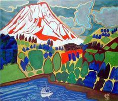 'Mt. Fuji with Pond Smelt Fishing Boat' 2011 - lithograph by Tamako KATAOKA