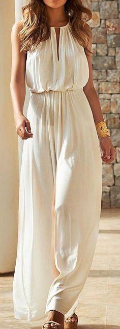 #summer #seaside #outfits | Beige Plain Cut Out Pleated Melissa Odabash 2015 Rachel Cream Chiffon Maxi Dress