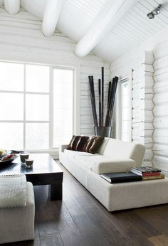 Should I paint my logs?      :: INTERIORS :: this is my kind of log cabin, see @Evan Haveman, nothing wrong with a coat of white paint to create a modern interior.  love Norwegian interior of home owner Oyvind Olstad. #interiors #white // if they can paint log cabin walls, we can paint brick ones