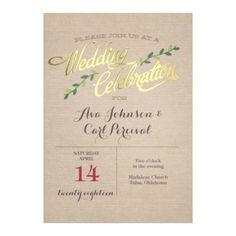 Shining Celebration Foil - Wedding Invitation - Typography, Linen look at Invitations By David's Bridal