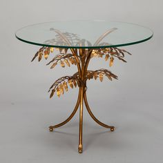 Italian Side Table With Glass Top And Gilded Metal Leaf Base    Circa 1940s  Italian